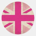 Viejos pegatinas rosados de Union Jack