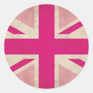Viejos pegatinas rosados de Union Jack Pegatina Redonda