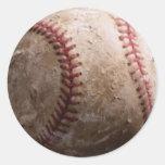 Viejos pegatinas rugosos llevados del béisbol pegatina redonda
