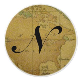 Viejos tirones del cajón del monograma del mapa pomo de cerámica