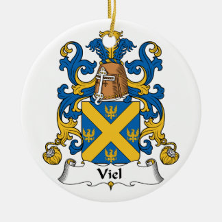 Viel Family Crest Double-Sided Ceramic Round Christmas Ornament