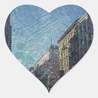 Viena en los mapas (a) pegatina en forma de corazón