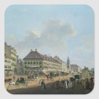 """Viena, la """"promenade"""", 1824 (aceite en lona) calcomanías cuadradass"""