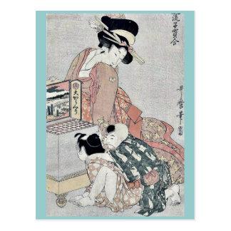 Viendo una caja del pío muestre por Kitagawa, Tarjetas Postales