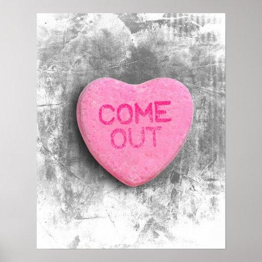 Viene hacia fuera el corazón del caramelo impresiones