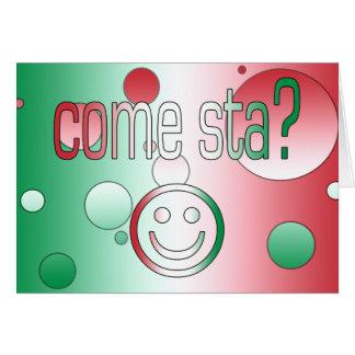 ¿Viene Sta? La bandera de Italia colorea arte pop Tarjeta De Felicitación