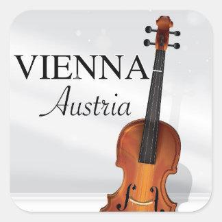 Vienna Austria Violin travel poster Square Sticker