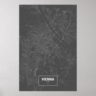 Vienna, Austria (white on black) Poster