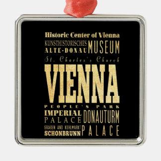 Vienna City of Austria Typography Art Metal Ornament