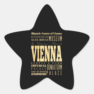 Vienna City of Austria Typography Art Star Sticker