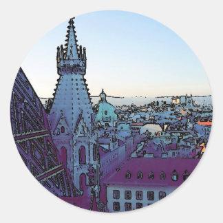 Vienna City, toony (A) Classic Round Sticker
