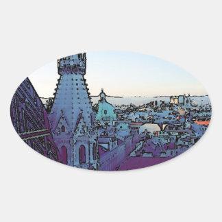 Vienna City, toony (A) Oval Sticker