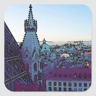 Vienna City, toony (A) Square Sticker