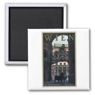 Vienna - Horse Carriage 2 Inch Square Magnet