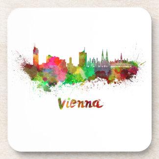 Vienna skyline in watercolor drink coaster