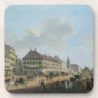 Vienna, the promenade, 1824 (oil on canvas) beverage coaster