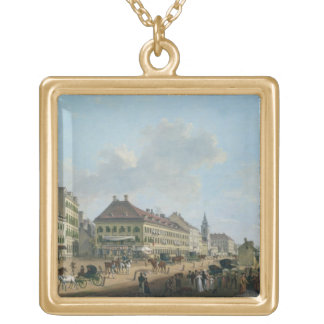 Vienna, the promenade, 1824 (oil on canvas) gold plated necklace