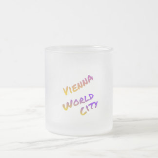 Vienna world city, colorful text art,  Italia Frosted Glass Coffee Mug