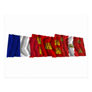 Vienne, Poitou-Charentes & France flags Postcard