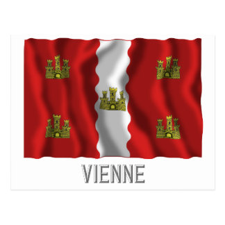 Vienne waving flag with name postcard