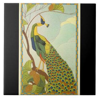 Viennese Art Nouveau Peacock Ceramic Tile