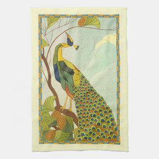 Viennese Art Nouveau Peacock Hand Towel