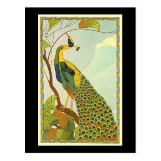 Viennese Art Nouveau Peacock Post Card