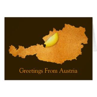 Viennese Schnitzel - Map Of Austria Greeting Card