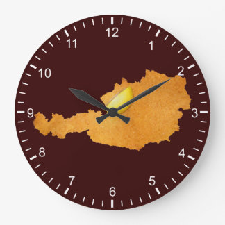 Viennese Schnitzel - Map Of Austria Large Clock