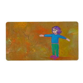 Viento colorido abstracto moderno de la mujer del etiqueta de envío