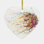 Viento del arco iris adorno de cerámica en forma de corazón