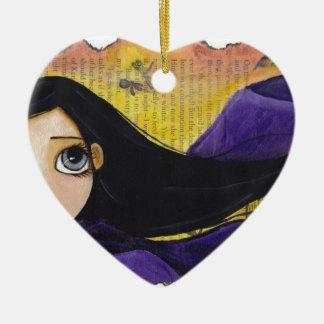 Viento del otoño adorno navideño de cerámica en forma de corazón