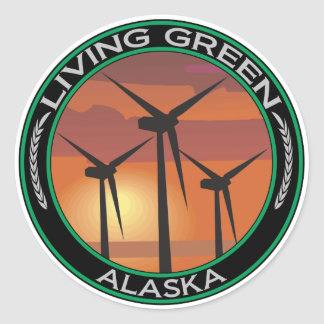 Viento verde Alaska Pegatinas Redondas