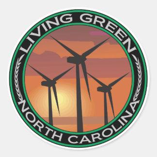 Viento verde Carolina del Norte Etiquetas Redondas