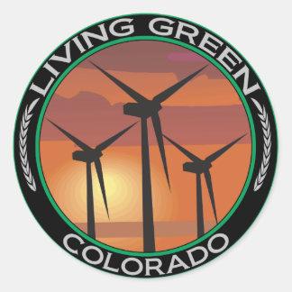 Viento verde Colorado Etiqueta Redonda