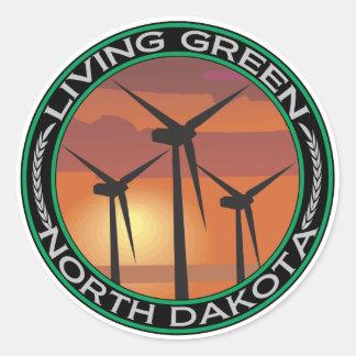 Viento verde Dakota del Norte Pegatina Redonda
