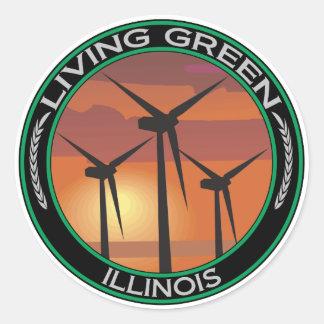 Viento verde Illinois Pegatinas Redondas