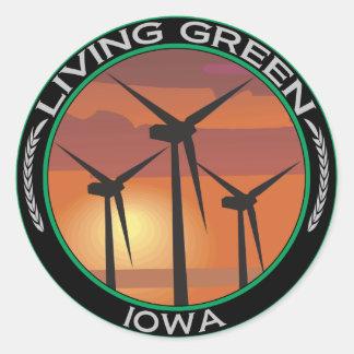 Viento verde Iowa Etiquetas Redondas