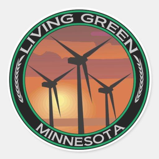 Viento verde Minnesota Pegatinas Redondas