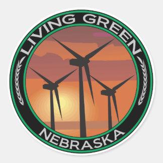 Viento verde Nebraska Etiqueta Redonda