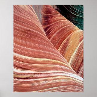 Viento y piedra arenisca erosionada agua de Navajo Póster