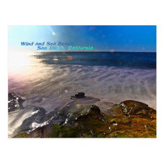 Viento y playa del mar, San Diego California Tarjetas Postales