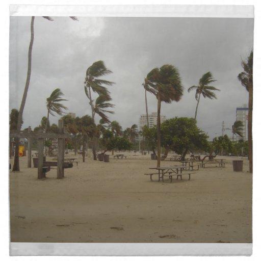 Vientos de la playa del pie Lauderdale fuertes Servilleta Imprimida