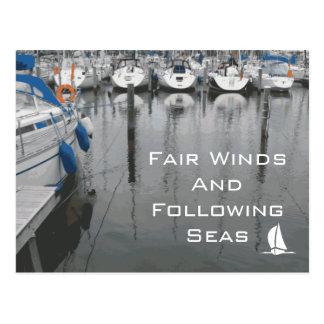 Vientos justos y frase de siguiente de los mares d postales
