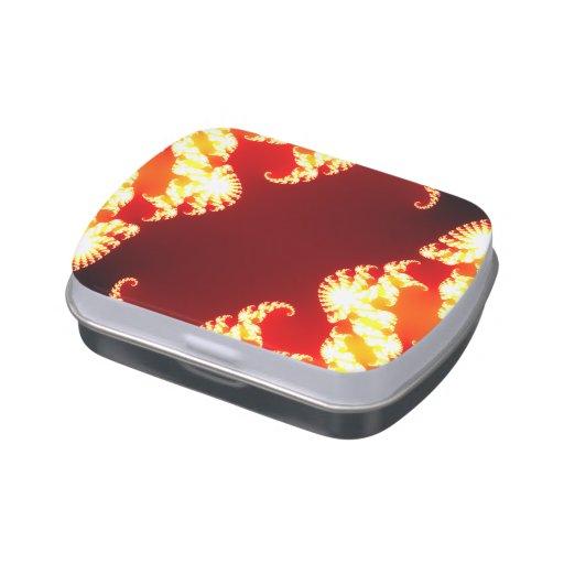 Vientre rojo de la jalea del fractal latas de dulces