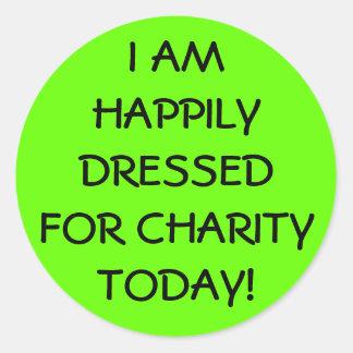 Viernes casual feliz vestido pegatina redonda