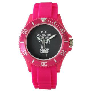 Viernes vendrá blanco divertido del negro de la relojes de pulsera