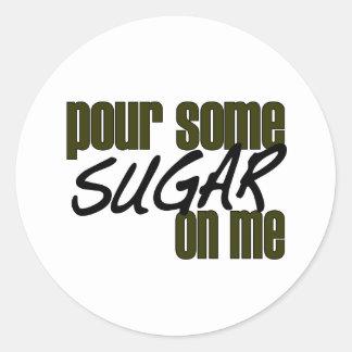 Vierta un poco de azúcar en mí pegatina redonda
