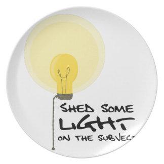 Vierta una cierta luz platos para fiestas