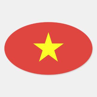 Vietnam - bandera vietnamita pegatina óval personalizadas